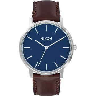 Nixon Porter Leather Watch - Navy Brown