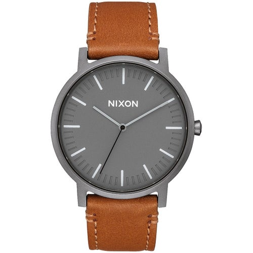 Nixon Porter Leather Watch - Gunmetal Charcoal Taupe