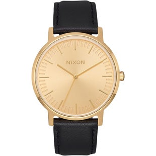 Nixon Porter Leather Watch - All Gold Black
