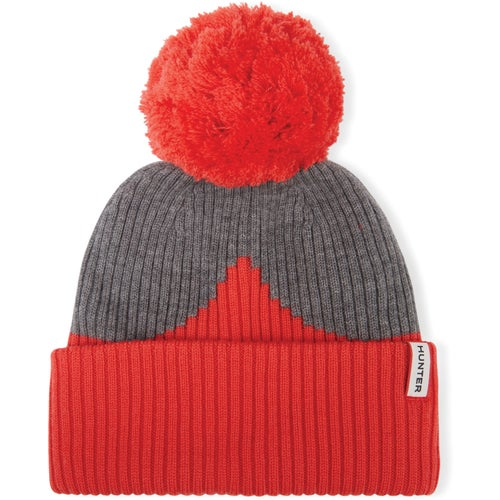Hunter Original Moustache Bobble Beanie - Red Grey
