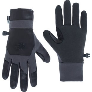 North Face Etip Leather Gloves - Asphalt Grey TNF Black
