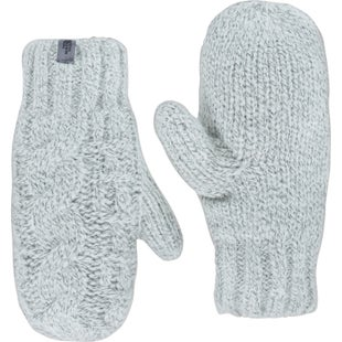 North Face Cable Knit Ladies Mittens - Vintage White