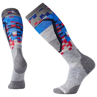 Smartwool PhD Ski Medium Pattern Snow Socks - Light Grey