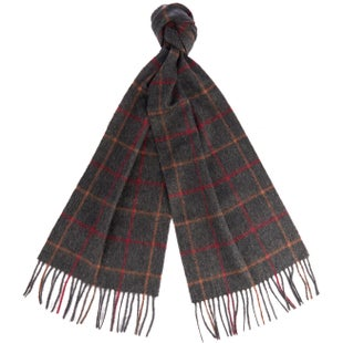 Barbour Tattersall Lambswool Scarf - Charcoal Red