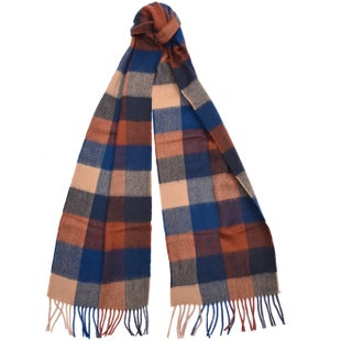 Barbour Tattersall Large Wool Scarf - Navy Camel