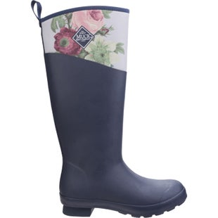 Muck Boots Tremont Matte Tall Ladies Wellies - Navy Grey Roses