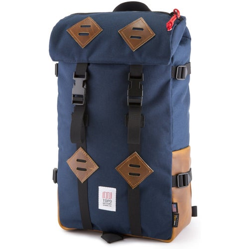 Topo Designs Klettersack 22L Backpack - Navy Brown Leather