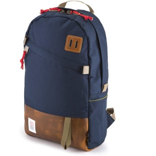 Topo Designs Daypack Backpack - Navy Brown Leather