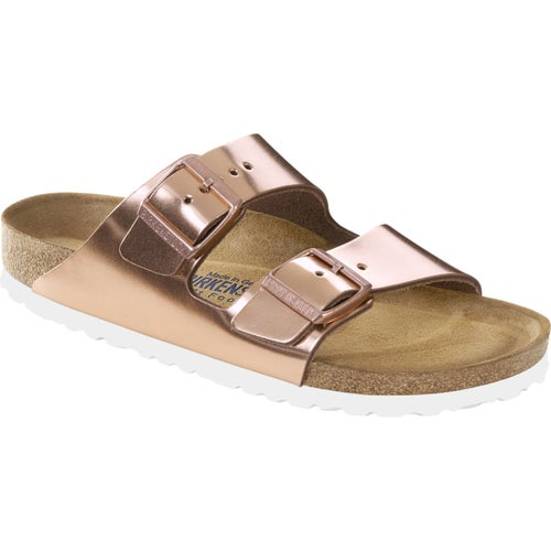 Birkenstock Arizona Natural Leather Soft Footbed Sandals - Metallic Copper