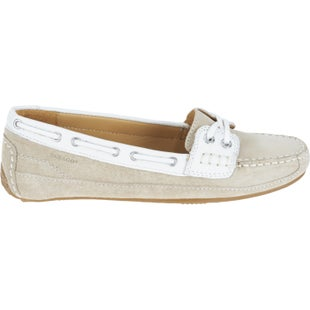 Sebago Bala Ladies Slip On Shoes - Taupe Suede White Leather 17