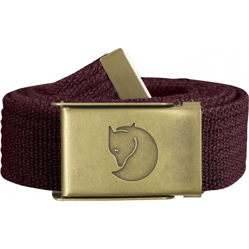 Fjallraven Canvas Brass 3cm Web Belt - Dark Garnet