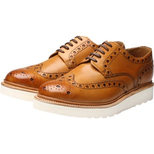 Grenson Archie Dress Shoes - Tan White Wedge Sole