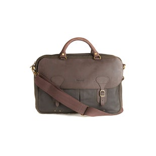 Barbour Wax Leather Briefcase Bag - Olive