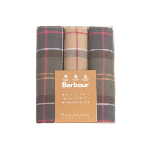 Barbour Classic 3 Boxed Handkerchief - Tartan Assorted