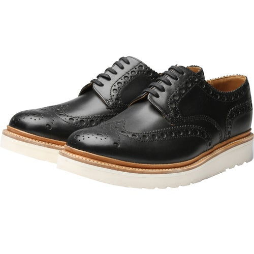 Grenson Archie Dress Shoes - Black White Wedge Sole