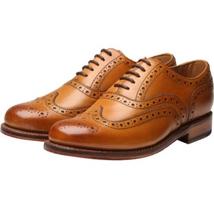 Grenson Stanley Calf Brogue Dress Shoes - Tan Leather Sole