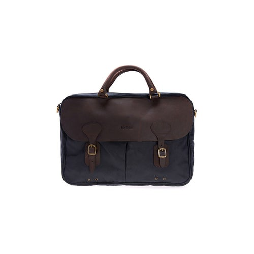 Barbour Wax Leather Briefcase Bag - Navy