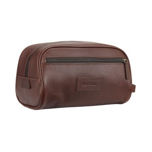 Barbour Leather Washbag - Dark Brown