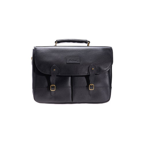 Barbour Leather Briefcase Bag - Black