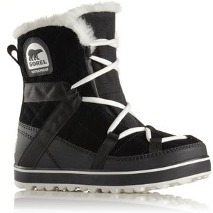 Sorel Glacy Explorer Shortie Faux Fur Ladies Boots - Black