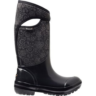 Bogs Plimsoll Quilted Floral Tall Wellies - Black