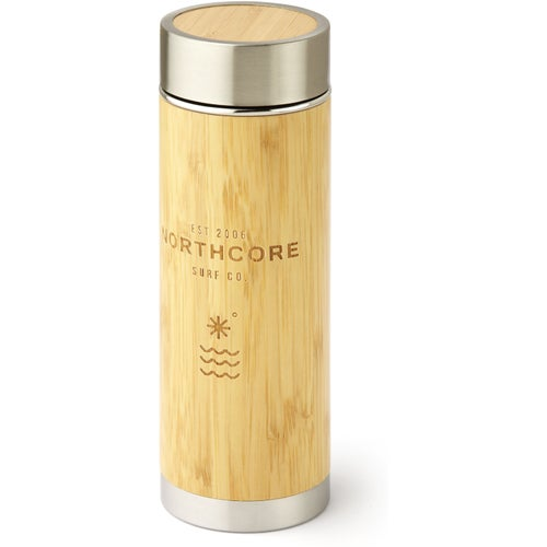Northcore Adventure Bamboo Stainless Steel 360ml Flask - Silver