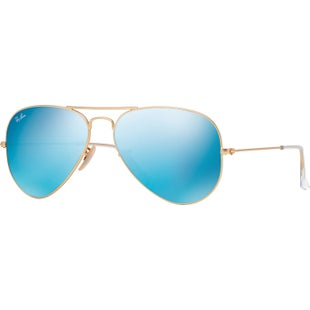 Ray-Ban Aviator Large Sunglasses - Matte Gold Green Mirror Blue