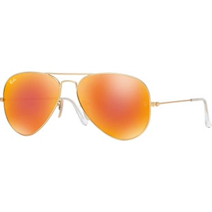 Ray-Ban Aviator Large Sunglasses - Matte Gold Brown Mirror Orange