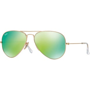 Ray-Ban Aviator Large Sunglasses - Gold ~ Crystal Green Mirror