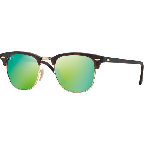 Ray-Ban Clubmaster Sunglasses - Sand Havana Gold ~ Grey Mirror Green