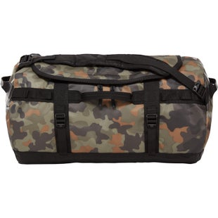 North Face Base Camp Small Duffle Bag - New Taupe Green Macrofleck Camo Print TNF Black