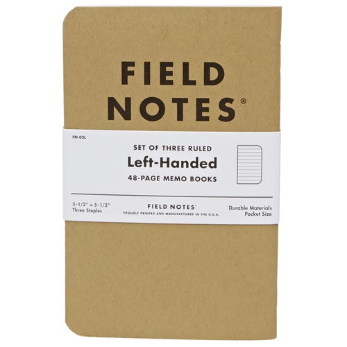 Field Notes Left-handed Ruled 3-pack Book - Brown