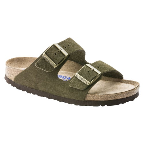 Birkenstock Arizona Suede Leather Soft Footbed Sandals - Forest