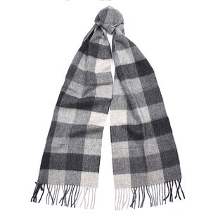Barbour Large Tattersall Lambswool Scarf - Charcoal Grey