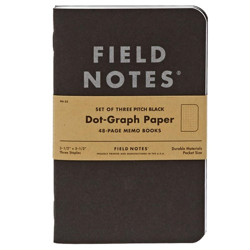 Field Notes Pitch Black Dot-graph Memo Book 3-pack Book