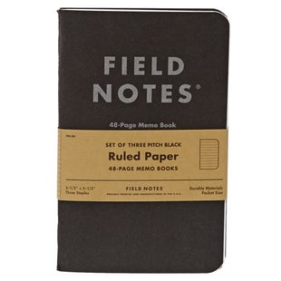 Field Notes Pitch Black Ruled Memo Book 3-pack Book - Black