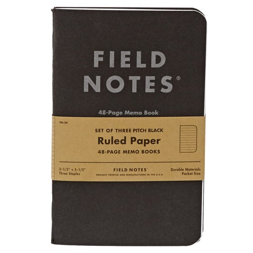 Field Notes Pitch Black Ruled Memo Book 3-pack Book