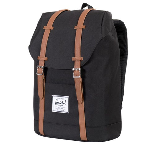 Herschel Retreat Backpack - Black/tan Synthetic Leather