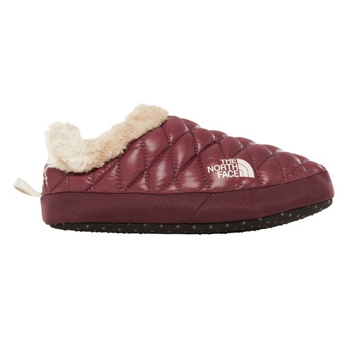 North Face Thermoball Tent Mule Faux Fur IV Ladies Slippers - Shiny Fig Vintage White