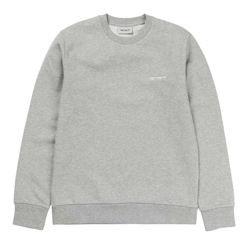 Carhartt Script Embroidery Sweater - Grey Heather / White