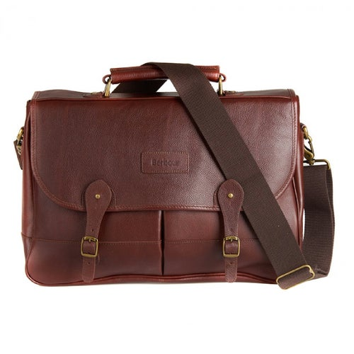 Barbour Leather Briefcase Bag - Dark Brown