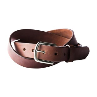 Tanner Classic Leather Belt - Cognac Brushed Steel