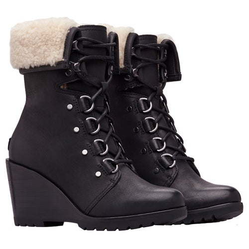 Sorel After Hours Lace Shearling Boots - Black