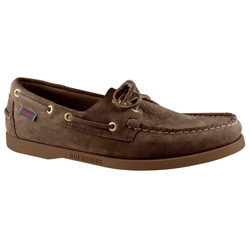 Sebago Dockside Portland Slip On Shoes - Dark Brown Gum Suede