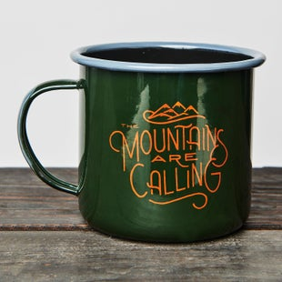 United by Blue 22 oz The Mountains Are Calling Enamel Steel Cup - Green