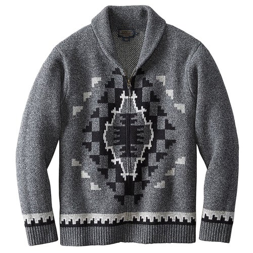 Pendleton Two Grey Hills Full Zip Cardigan - Charcoal/black