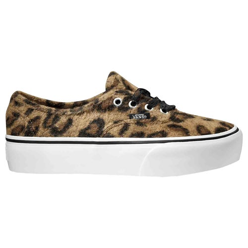 Vans Authentic Platform Fuzzy Shoes - Leopard True White