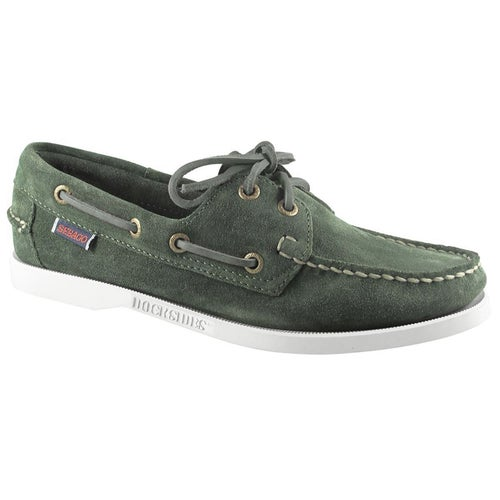 Sebago Docksides Ladies Slip On Shoes - Green Musk Suede