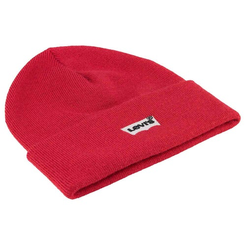 Levis Batwing Embroidered Slouchy Beanie - Red