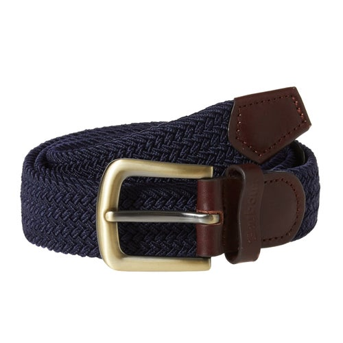 Barbour Stretch Webbing Leather Web Belt - Navy